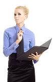 Young businesswoman with book pencil Stock Images