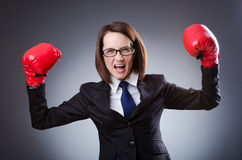 Young businesswoman -  boxing concept Royalty Free Stock Photo