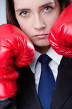 Young businesswoman - boxing concept royalty free stock photography
