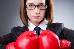 Young businesswoman - boxing concept Stock Images