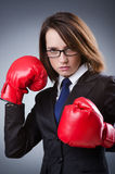 Young businesswoman - boxing concept Stock Photos