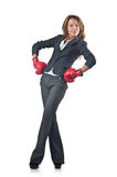 Young businesswoman - boxing concept Stock Photo
