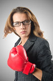 Young businesswoman in boxing concept Royalty Free Stock Photography
