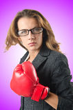 Young businesswoman in boxing concept Stock Image