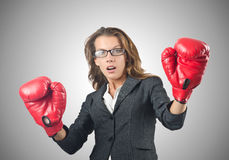 Young businesswoman in boxing concept Stock Photos