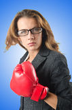 Young businesswoman in boxing concept Stock Images