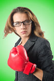 The young businesswoman in boxing concept Royalty Free Stock Image