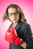 The young businesswoman in boxing concept Royalty Free Stock Photos