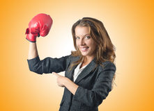The young businesswoman in boxing concept Stock Image