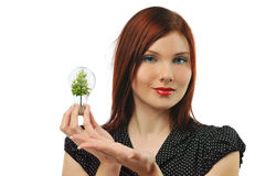 Young businesswoman with bulb and tree Stock Photos