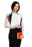 Young businesswoman with a bunch of documents Royalty Free Stock Image