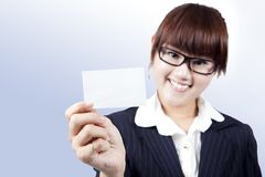 Young businesswoman with business card Royalty Free Stock Images