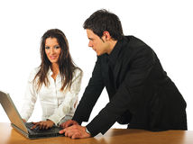 Young businesswoman and businessman working Royalty Free Stock Photography