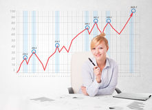 Young businesswoman calculating stock market with rising graph i Stock Image