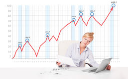 Young businesswoman calculating stock market with rising graph i Stock Images