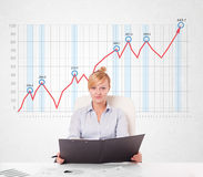 Young businesswoman calculating stock market with rising graph i Royalty Free Stock Photos