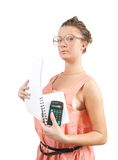 Young businesswoman with calculator Stock Photography