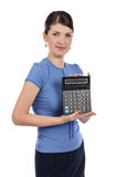 Young businesswoman with a calculator Royalty Free Stock Image