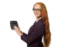 Young businesswoman with calculator on white Stock Photos