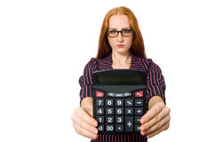 Young businesswoman with calculator on white Stock Photography