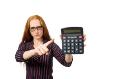 Young businesswoman with calculator on white Stock Images