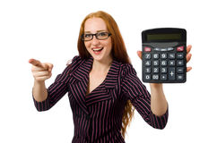 Young businesswoman with calculator on white Royalty Free Stock Images