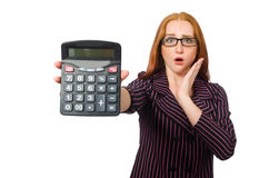 The young businesswoman with calculator on white Stock Photography