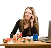 Young businesswoman calling to phone Stock Photo