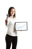Young businesswoman chart and wrench Royalty Free Stock Photos