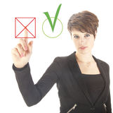 Young businesswoman choosing no over yes isolated Stock Image