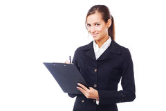 Young businesswoman with clipboard Royalty Free Stock Images