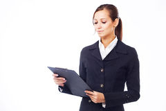 Young businesswoman with clipboard Stock Image