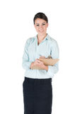 Young businesswoman with clipboard, isolated Royalty Free Stock Images