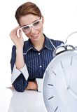 Young businesswoman with  clock Royalty Free Stock Images