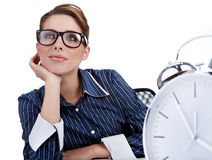 Young businesswoman with  clock Stock Image