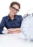 Young businesswoman with a  clock Royalty Free Stock Images