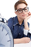 Young businesswoman with  clock Royalty Free Stock Photography