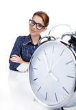Young businesswoman with  clock Stock Photos