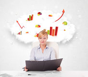 Young businesswoman with cloud in the background containing colo Stock Images