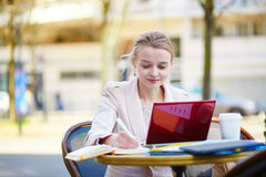 Young businesswoman on a coffee break Royalty Free Stock Image