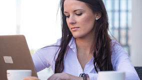Young businesswoman on a coffee break using laptop. Stock Photo