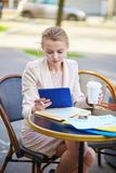 Young businesswoman on a coffee break Royalty Free Stock Images