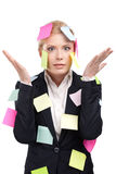 Young businesswoman with colored stickers Royalty Free Stock Photo