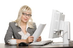 Young businesswoman with computer Royalty Free Stock Photo