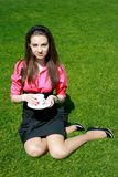 Young businesswoman with cup of tea Royalty Free Stock Images