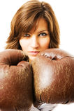 The young businesswoman defends from competitors. royalty free stock photos