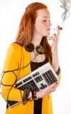 Young businesswoman depressed by cyber addiction. 100 percent pure white background, depressed teen girl Stock Photo