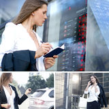 Young businesswoman in different situations. Young and smart businesswoman in different situations stock photos