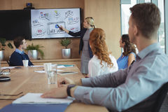 Young businesswoman discussing with colleagues over whiteboard during meeting Stock Photos
