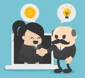 Young businesswoman discussing something with male businessmen. And showing And congratulations stock illustration